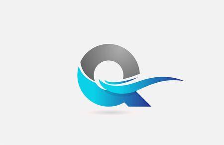 blaugraues Q-Alphabet-Logo-Symbol für Unternehmen und Unternehmen mit Swoosh-Design