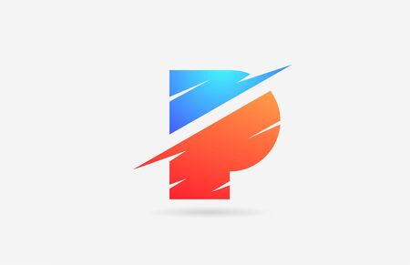 P blue orange alphabet letter logo icon for company and business with slice design