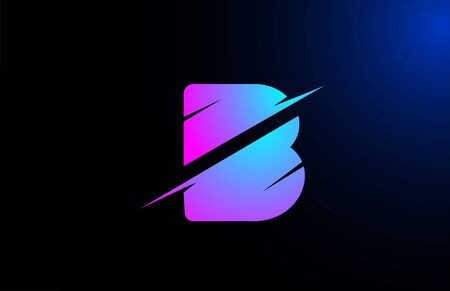 B pink blue alphabet letter logo icon for business and company with sliced design