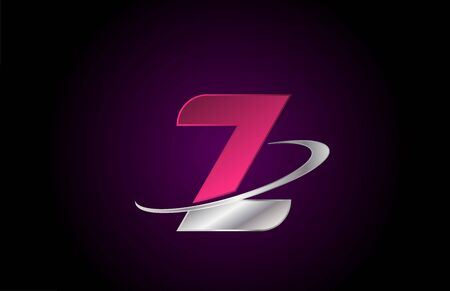 Z pink alphabet letter logo icon for company and business with metallic swoosh design Ilustração