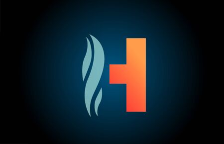 blue and orange H alphabet letter logo icon for business and company with swoosh design