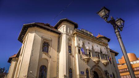 Town hall or city hall in Campulung Muscel, Arges county, Romania. Beautiful architectural building located in the city center