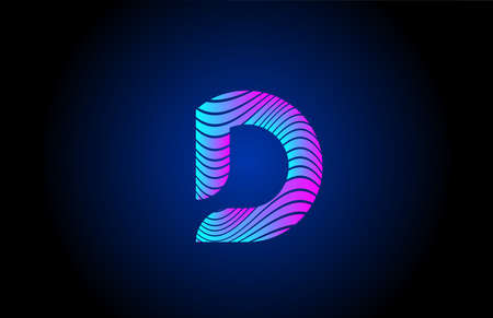 D pink blue alphabet letter logo icon for business. Curly line design for corporate identity 向量圖像