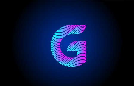G pink blue alphabet letter logo icon for business. Curly line design for corporate identity