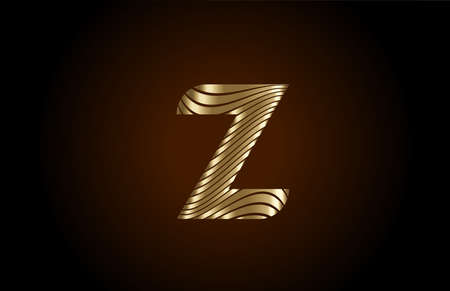 Z yellow alphabet letter logo icon for company. Metallic gold line design for luxury coporate identity
