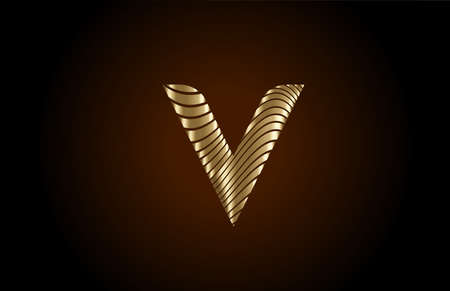 V yellow alphabet letter logo icon for company. Metallic gold line design for luxury coporate identity 向量圖像