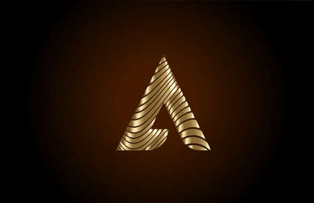A yellow alphabet letter logo icon for company. Metallic gold line design for luxury coporate identity 向量圖像