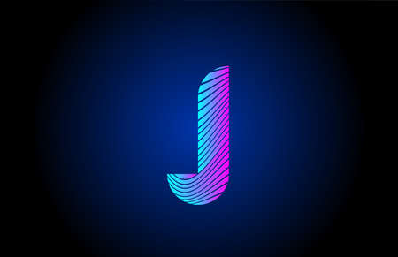 J pink blue alphabet letter logo icon for business. Curly line design for corporate identity 向量圖像