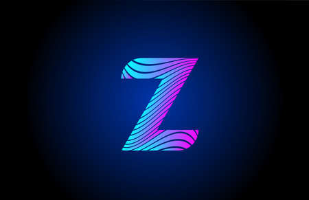 Z pink blue alphabet letter logo icon for business. Curly line design for corporate identity 向量圖像