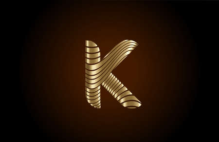 K yellow alphabet letter logo icon for company. Metallic gold line design for luxury coporate identity 向量圖像