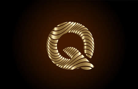 Q yellow alphabet letter logo icon for company. Metallic gold line design for luxury coporate identity 向量圖像