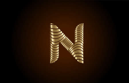 N yellow alphabet letter logo icon for company. Metallic gold line design for luxury coporate identity