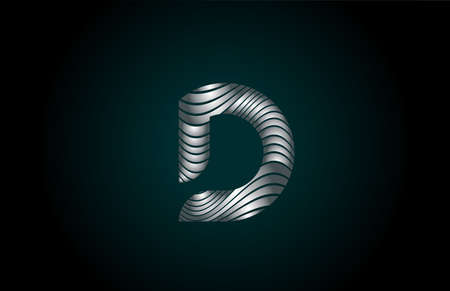 D silver grey alphabet letter logo icon for business. Metallic line design for corporate identity 向量圖像