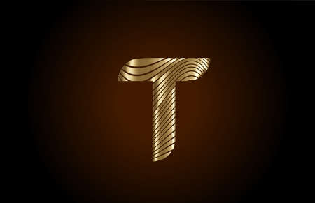 T yellow alphabet letter logo icon for company. Metallic gold line design for luxury coporate identity 向量圖像