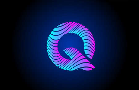 Q pink blue alphabet letter logo icon for business. Curly line design for corporate identity 向量圖像
