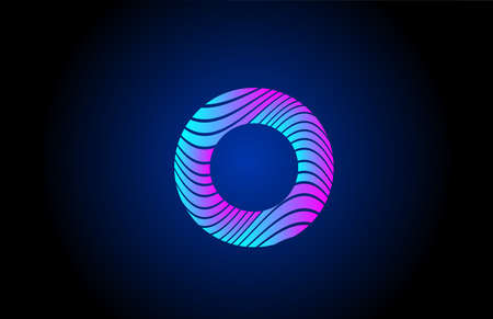 O pink blue alphabet letter logo icon for business. Curly line design for corporate identity 向量圖像