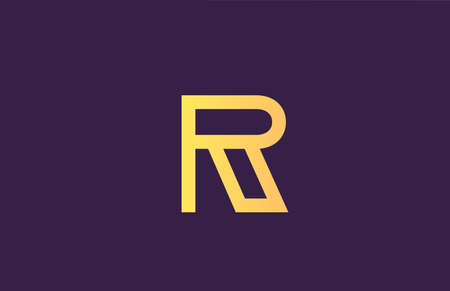 R yellow purple alphabet letter logo icon for company. Simple line design for business