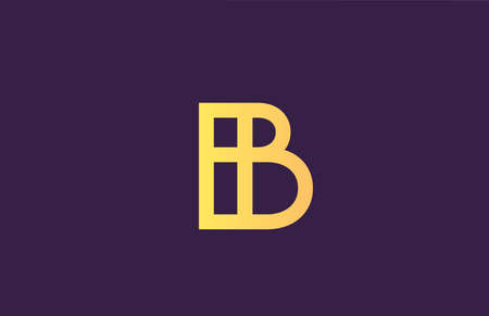 B yellow purple alphabet letter logo icon for company. Simple line design for business 向量圖像