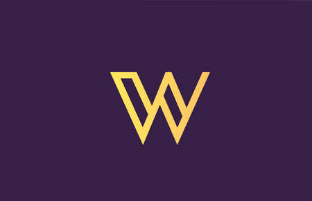 W yellow purple alphabet letter logo icon for company. Simple line design for business 向量圖像