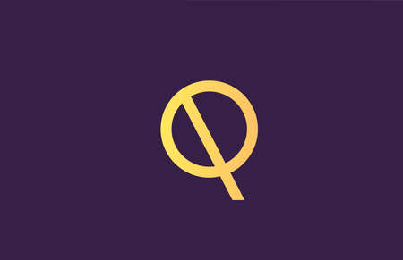 Q yellow purple alphabet letter logo icon for company. Simple line design for business 向量圖像