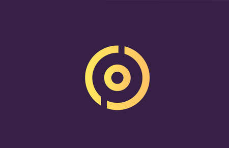 O yellow purple alphabet letter logo icon for company. Simple line design for business 向量圖像
