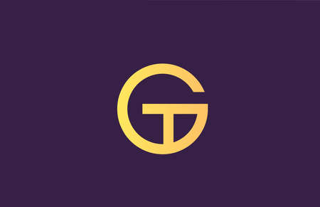 G yellow purple alphabet letter logo icon for company. Simple line design for business 向量圖像
