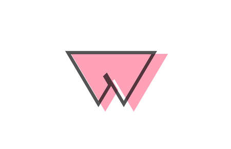 geometric W pink black line alphabet letter logo icon for company. Simple line design for business and corporate 向量圖像