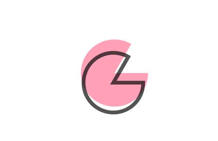 geometric G pink black line alphabet letter logo icon for company. Simple line design for business and corporate