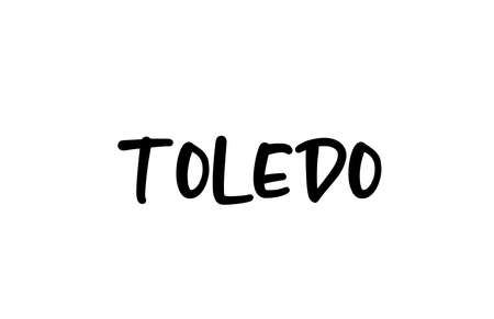 Toledo city handwritten typography text word hand lettering. Modern calligraphy text. Black color