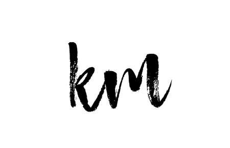 KM K M alphabet letter logo icon combination. Grunge handwritten vintage design. Black white color for company and business