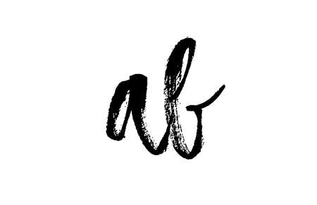 AB A B alphabet letter logo icon combination. Grunge handwritten vintage design. Black white color for company and business