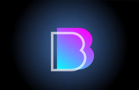 geometric B pink blue line alphabet letter logo icon for company. Simple line design for business and corporate