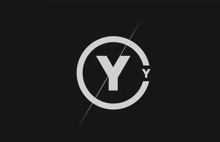 alphabet Y letter logo icon. Black white simple line and circle design for company identity 向量圖像
