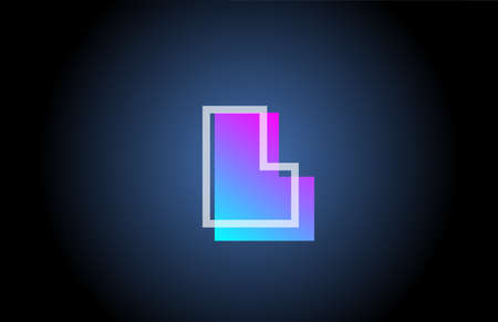 geometric L pink blue line alphabet letter logo icon for company. Simple line design for business and corporate
