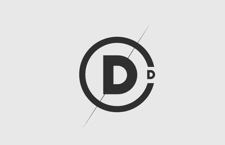 black white alphabet D letter logo icon. Simple line and circle design for company corporate identity