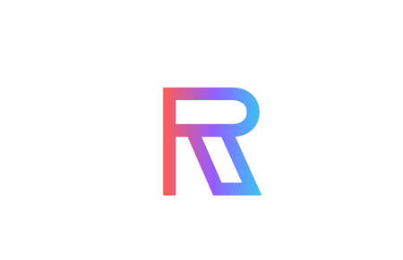 R colored alphabet letter logo icon. Pink blue simple line and design for company and business identity 向量圖像