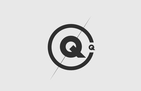 black white alphabet Q letter logo icon. Simple line and circle design for company corporate identity