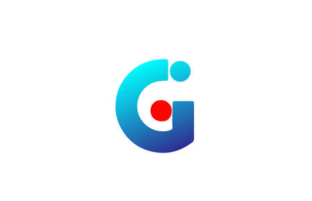 G blue red alphabet letter logo icon. Gradient design for business and company identity