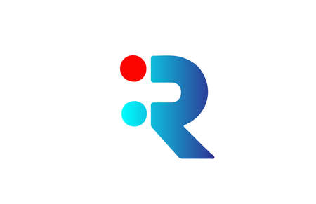 R blue red alphabet letter logo icon. Gradient design for business and company identity