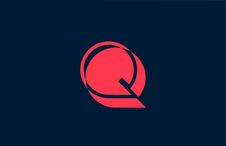 red black Q alphabet letter logo icon. Business and company design