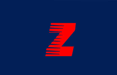 Z blue red alphabet letter logo icon. Line design for company and business