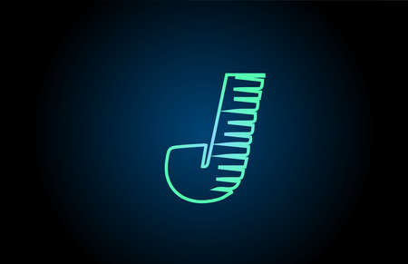 line J green blue alphabet letter logo icon. Glowing wire for business and company design