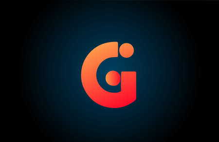 G alphabet letter logo icon in orange and black. Corporate design for business and company 向量圖像