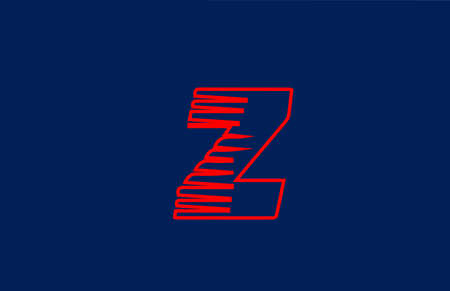 Z red line alphabet letter logo icon. Simple line design for company and business
