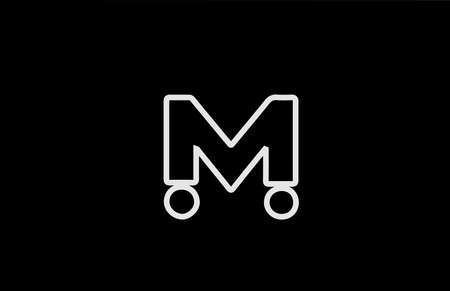 M alphabet letter logo icon with line. Black white color for business and company design