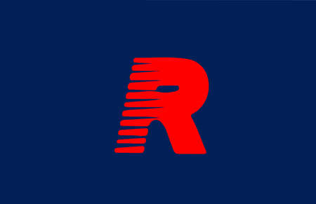 R blue red alphabet letter logo icon. Line design for company and business Çizim