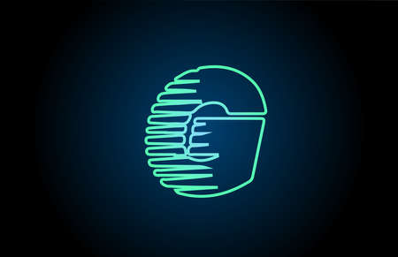 line G green blue alphabet letter logo icon. Glowing wire for business and company design Çizim