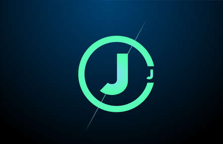 black blue green J alphabet letter logo icon. Design with circle for business and company Çizim