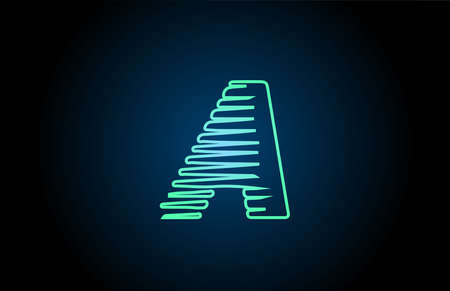 line A green blue alphabet letter logo icon. Glowing wire for business and company design
