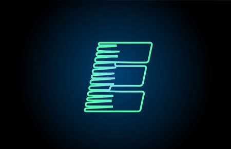 line E green blue alphabet letter logo icon. Glowing wire for business and company design